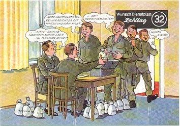 GERMAN FANTASY MILITARY CARTOON POSTCARD # 32 UNUSED MINT
