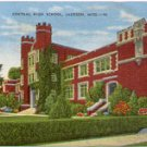 CENTRAL HIGH SCHOOL  JACKSON  MISSISSIPPI LINEN POSTCARD #41 USED IN 1950