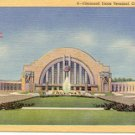CINCINNATI UNION TERMINAL CINCINNATI OHIO LINEN POSTCARD #45 UNUSED