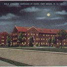 FIELD ARTILLERY BARRACKS AT NIGHT FORT BRAGG NORTH CAROLINA LINEN POSTCARD #52 USED IN 1942