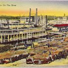 LOADING COTTON ON THE RIVER #C-7 LINEN POSTCARD #54 USED IN 1945