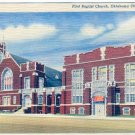 FIRST BAPTIST CHURCH OKLAHOMA CITY OKLA. LINEN POSTCARD #96 UNUSED