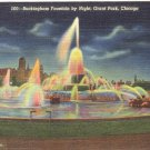 BUCKINGHAM FOUNTAIN BY NIGHT GRANT PARK CHICAGO ILLIONOIS LINEN POSTCARD #101 UNUSED