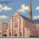 BROADWAY BAPTIST CHURCH FORT WORTH TEXAS LINEN POSTCARD #110 USED 1950