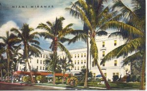 MIAMI MIRAMAR HOTEL N. BAYSHORE DRIVE FLORIDA LINEN POSTCARD #116 USED 1958