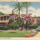 THE OLD SPANISH TREASURY ST. AUGUSTINE FLORIDA OLDEST CITY IN USA LINEN POSTCARD #139 UNUSED