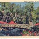 MIRROR LAKE BRIDGE AT BELLINGRATH GARDENS MOBILE ALABAMA LINEN POSTCARD #180 UNUSED