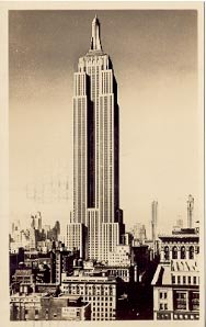EMPIRE STATE BUILDING NEW YORK CITY WORLD'S TALLEST STRUCTURE RPPC POSTCARD #185 USED 1950
