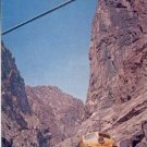 BOTTOM OF THE ROYAL GORGE SUSPENSION BRIDGE CANON CITY COLORADO PICTURE POSTCARD #219 USED 1959
