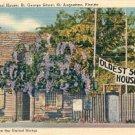 THE OLDEST SCHOOL HOUSE IN U.S. - ST. GEORGE STREET - ST. AUGUSTINE FL LINEN POSTCARD #232 UNUSED