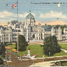 PARLIAMENT BUILDINGS VICTORIA B.C. CANADA LINEN POSTCARD #246 UNUSED
