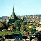 VIEW OF THE CATHEDRAL AND OLD TOWN BRIDGE TRONDHEIM NORWAY COLOR PICTURE POSTCARD #263 UNUSED
