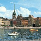 THE OLD TOWN WITH GERMAN CHURCH STOCKHOLM SWEDEN COLOR PICTURE POSTCARD #299 UNUSED