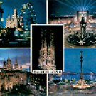 BARCELONA VIEWS AT NIGHT SPAIN COLOR PICTURE POSTCARD #347 UNUSED