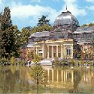 RETIRO PARK BASIN AND CRYSTAL PALACE MADRID SPAIN COLOR PICTURE POSTCARD #349 UNUSED