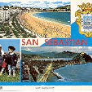 LA CONCHA BEACH VIEW AT NIGHT SAN SEBASTIAN SPAIN COLOR PICTURE POSTCARD #362 UNUSED