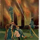 FIREFIGHTERS - JUST FOR THE SAKE OF SOCIETY #674/3 COLOR PICTURE POSTCARD #496 USED 1913