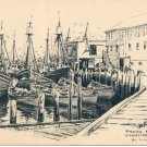 FISHING BOATS GLOUCESTER MASS. LITH O SKETCH SIGNED JAS F MURRAY BLACK & WHITE POSTCARD #497