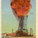 OIL WELL EXPLOSION IN WEST TEXAS 4A-H296 LINEN PICTURE POSTCARD #506 USED 1947