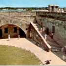STAIRWAY TOP OF WALL CASTILLO DE SAN MARCOS NATL MONUM ST. AUGUSTINE FL COLOR POSTCARD #536 UNUSED