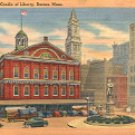 FANEUIL HALL - CRADLE OF LIBERTY BOSTON MASSACHUSETTS LINEN POSTCARD #558 UNUSED
