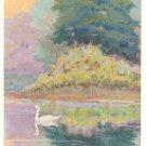 SWAN ON LAKE ART COLOR POSTCARD #582 UNUSED SIGNED W.