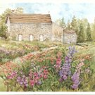 OLD STONE HOUSE IN A MEADOW OF FLOWERS ART COLOR POSTCARD #585 UNUSED