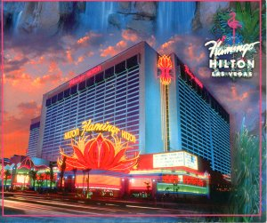 FLAMINGO HILTON HEART OF LAS VEGAS NEVADA WILLIAM CARR COLLECTION COLOR PICTURE POSTCARD #592 UNUSED