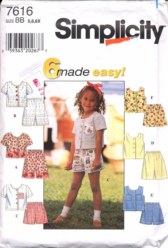 SIMPLICITY PATTERN #7616 CHILD'S TOP AND SHORTS SIZE  BB - 5,6,6X UNUSED NEW 1997