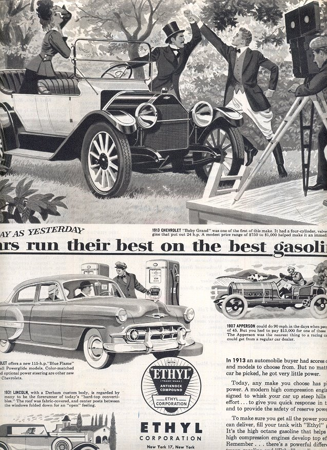 1953  ETHYL CORPORATION GASOLINE MAGAZINE AD  (165)
