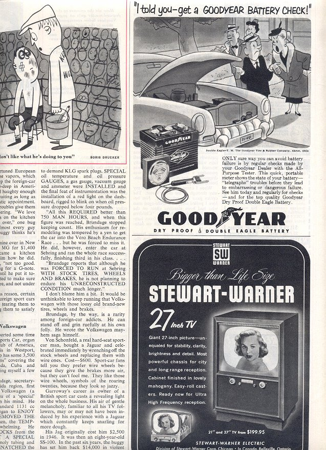 1953 STEWART-WARNER TELEVISION AND GOOD-YEAR BATTERY MAGAZINE AD  (184)