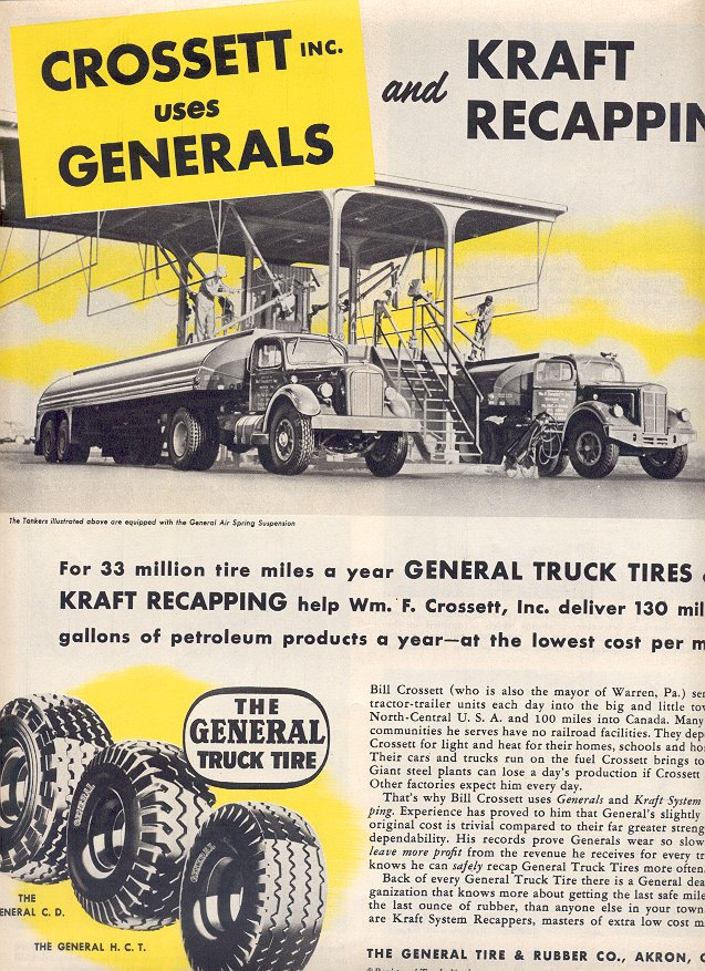1953 THE GENERAL TIRE & RUBBER CO. AND KRAFT RECAPPING SYSTEMS DOUBLE PAGE MAGAZINE AD (187)