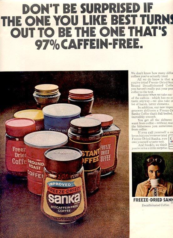 1971 SANKA FREEZE DRIED COFFEE MAGAZINE AD  (103)
