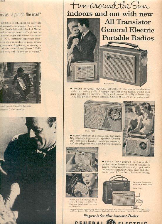 1959 GENERAL ELECTRIC TRANSISTOR PORTABLE RADIOS MAGAZINE AD  (157)