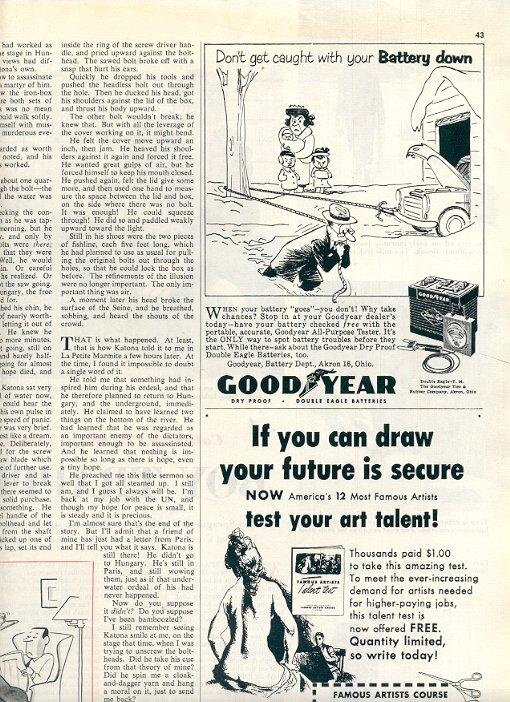 1953 GOOD YEAR DOUBLE EAGLE BATTERY MAGAZINE AD  (199)