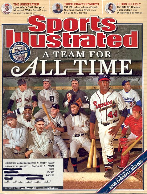 SPORTS ILLUSTRATED MAGAZINE OCTOBER 9 2006 ALL TIME BASEBALL GREATS BACK ISSUE MAGAZINE MINT