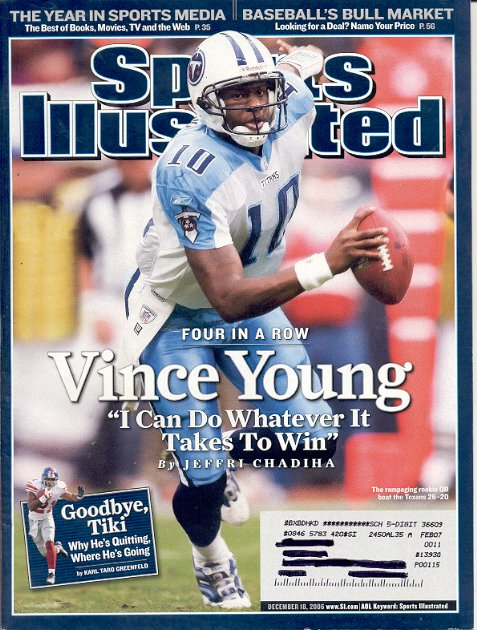 SPORTS ILLUSTRATED MAGAZINE DECEMBER 18 2006 TITANS VINCE YOUNG BACK ISSUE MINT