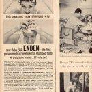 1957 ENDEN DANDRUFF SHAMPOO MAGAZINE AD  (206)