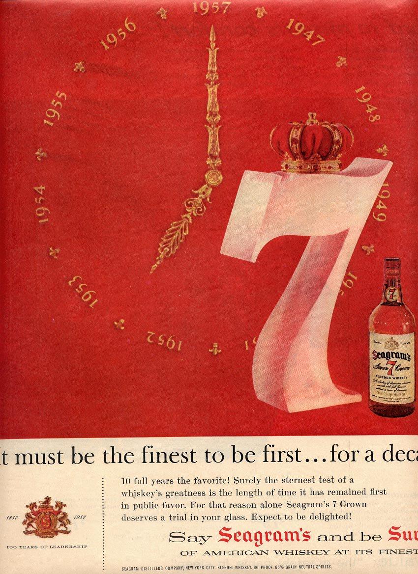 1957  SEAGRAM'S 7 CROWN WHISKEY MAGAZINE AD (216)