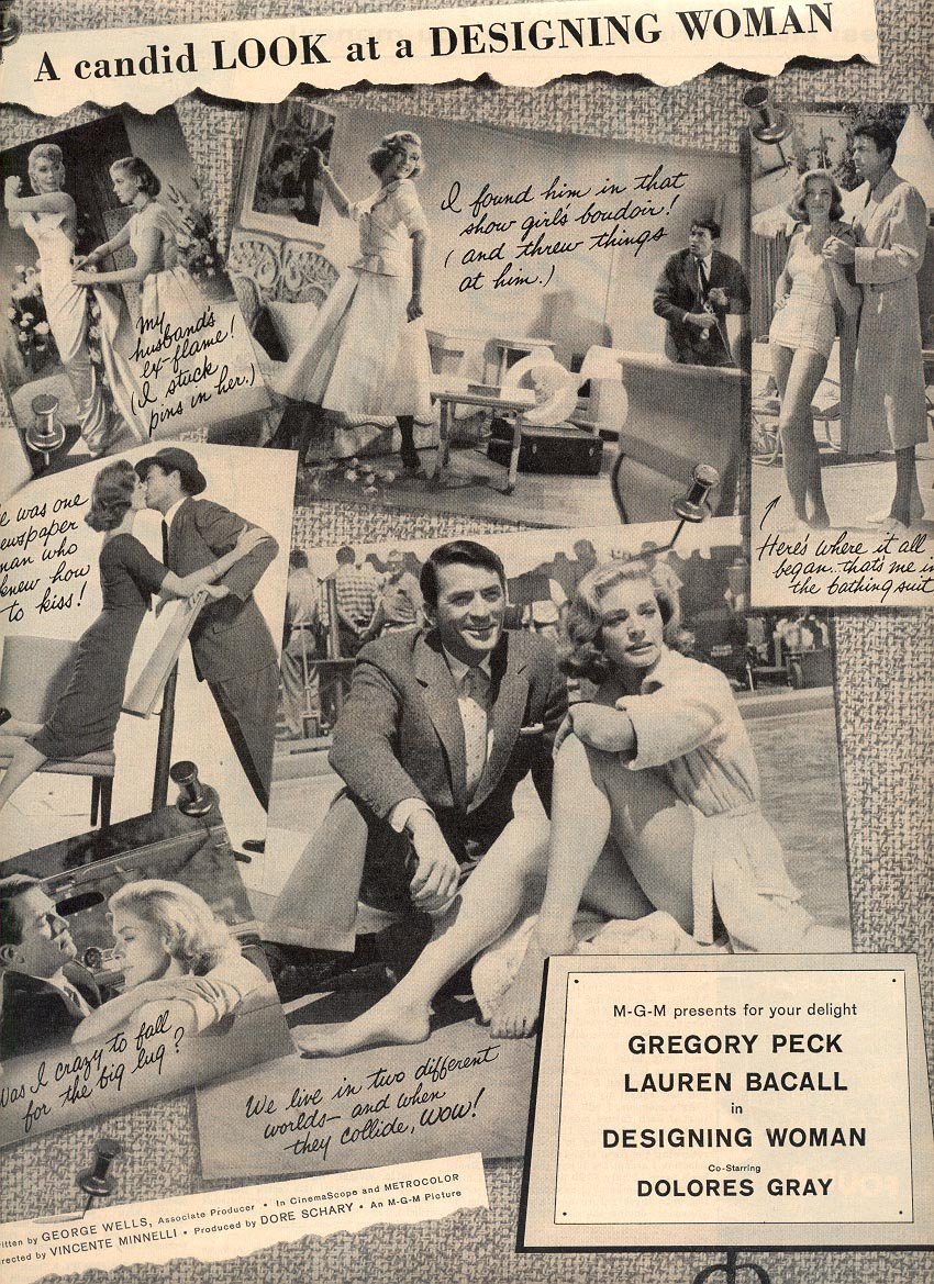 1957 CANDID LOOK AT MOVIE DESIGNING WOMAN - GREGORY PECK & LAUREN BACALL MAGAZINE AD (218)