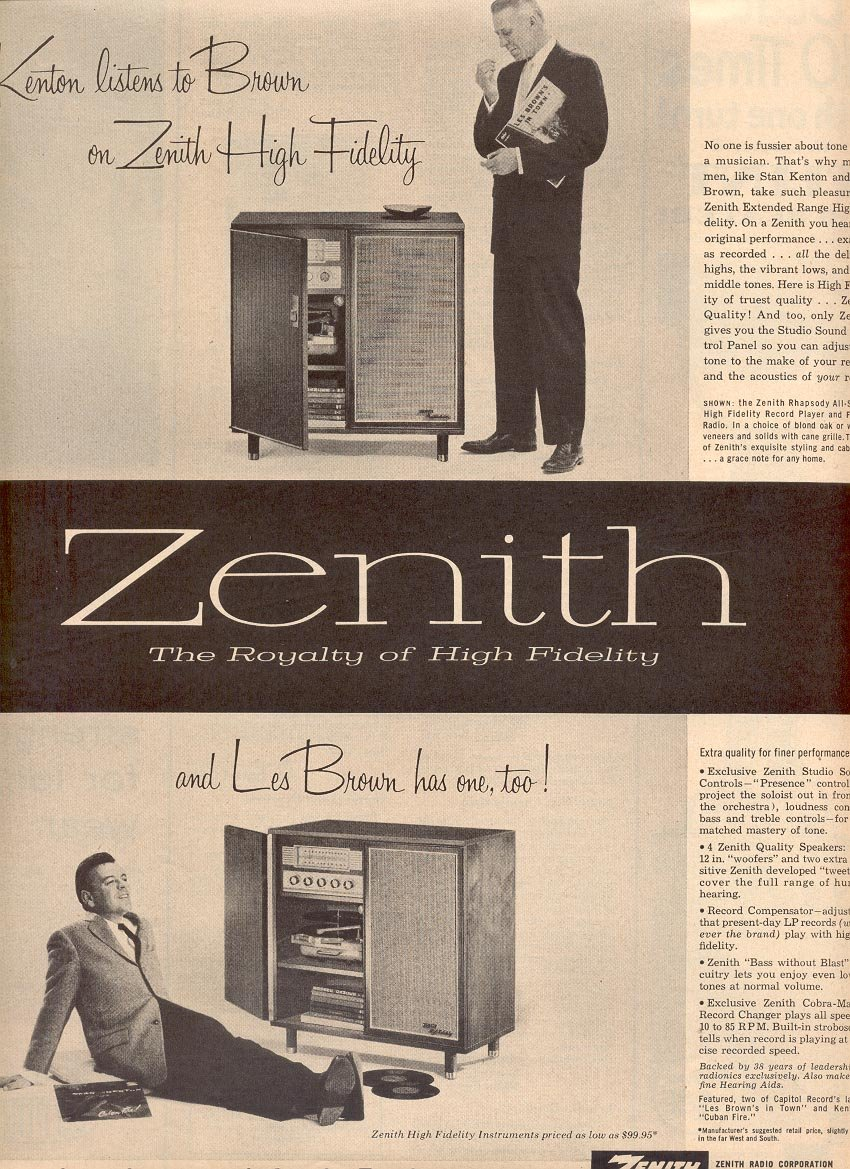 1957 ZENITH HIGH FIDELITY STEREO WITH LES BROWN MAGAZINE AD (220)