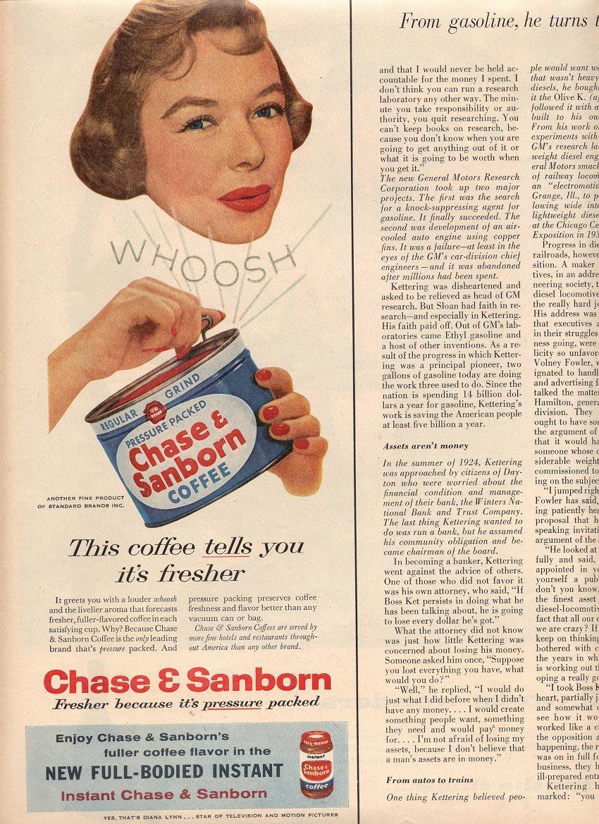 1957 CHASE & SANBORN COFFEE MAGAZINE AD (225)