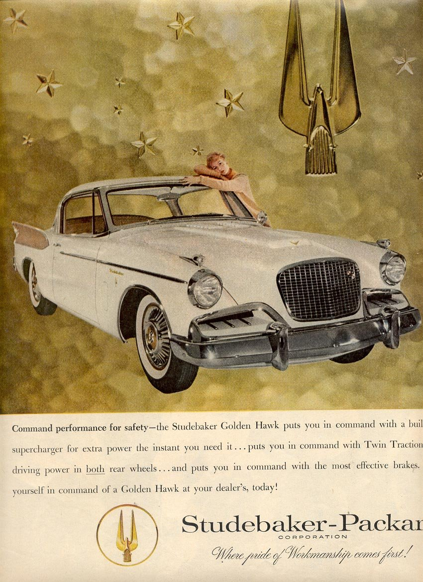 1957 STUDEBAKER GOLDEN HAWK MAGAZINE AD (233)