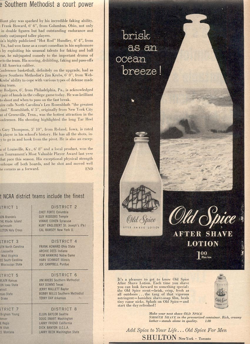 1957 OLD SPICE AFTER SHAVE LOTION MAGAZINE AD (240)