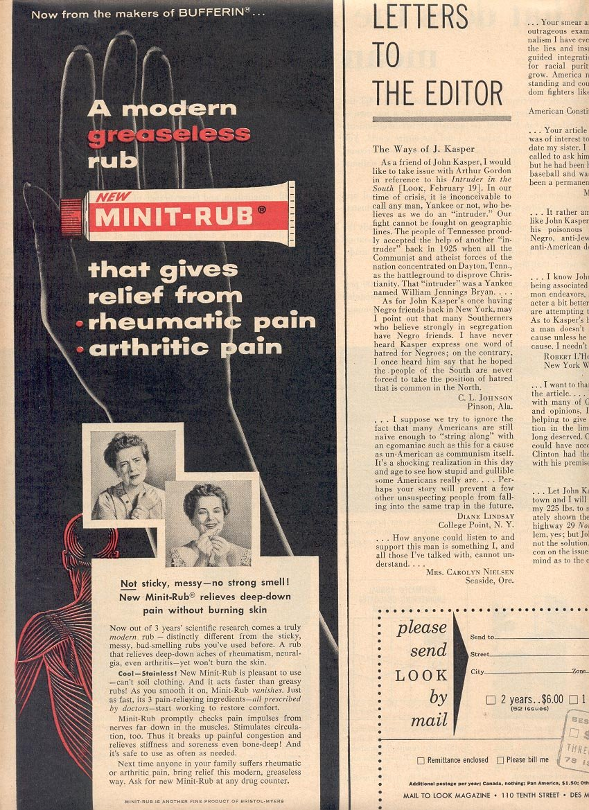 1957 MINIT-RUB PAIN RELIEVER MAGAZINE AD (242)