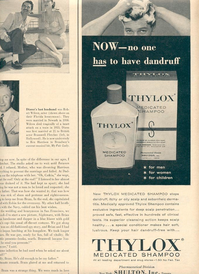 1957 THYLOX MEDICATED SHAMPOO MAGAZINE AD (248)