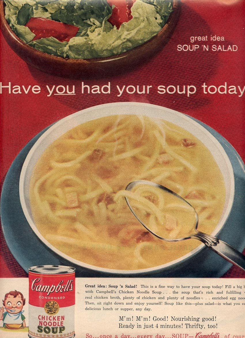 1958 CAMPBELL'S CHICKEN NOODLE SOUP MAGAZINE AD (258)