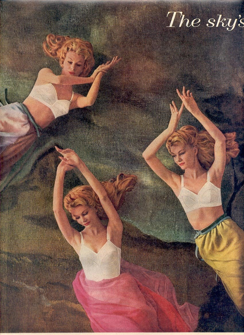 1959 WARNER'S BRAS DOUBLE PAGE MAGAZINE AD (270)