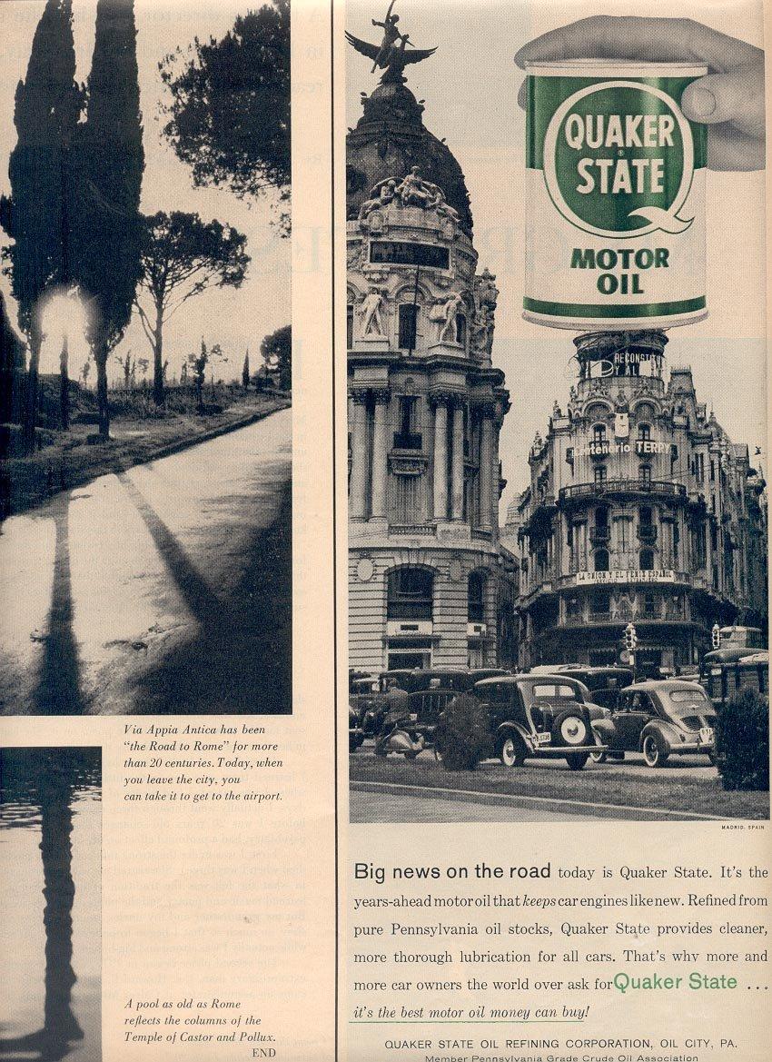 1958 QUAKER STATE MOTOR OIL MAGAZINE AD (272)