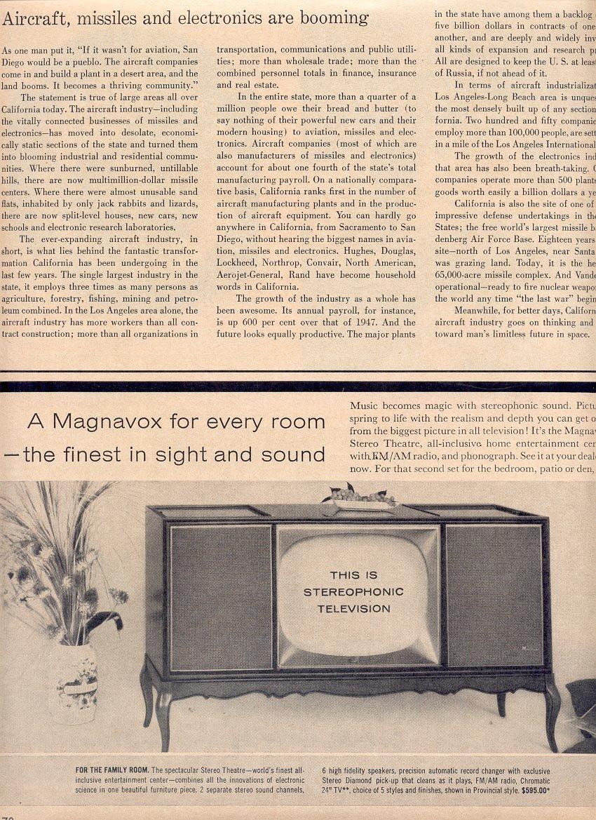 1959 MAGNAVOX DOUBLE PAGE MAGAZINE AD (275)